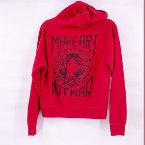 Obey make art not war red hoodie size large
